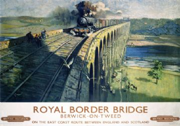 Royal Border Bridge, River Tweed, Northumberland. BR Vintage Travel Poster by Terence Cuneo